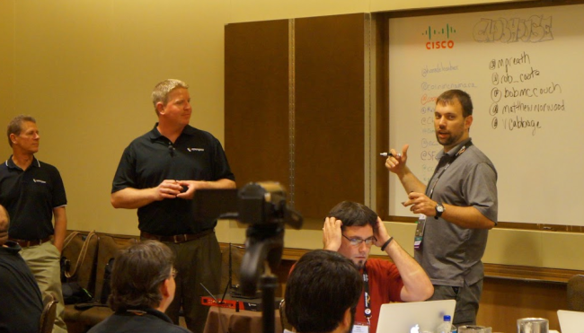 Discussing the new IM7200 with the Tech Field Day crew