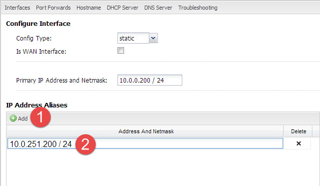 Creating a new IP Address Alias on the Internal interface