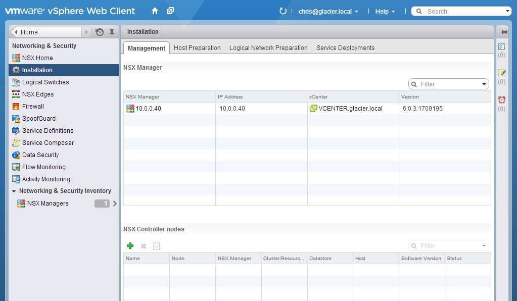 Verify the NSX Manager is present