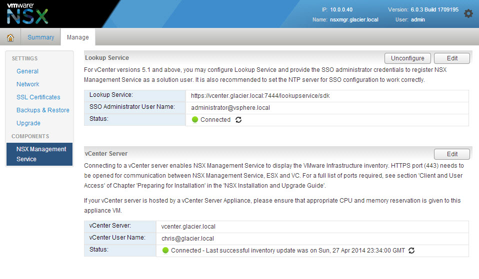 Providing the Lookup Service and vCenter Server credentials