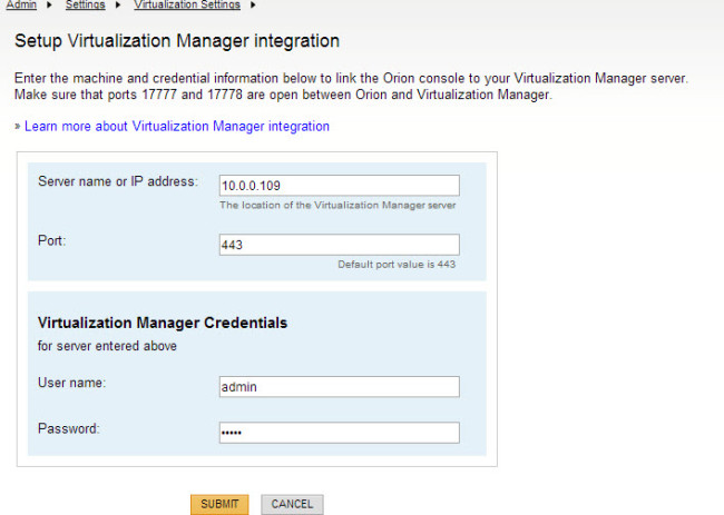 Configuring the integration between VMan and SAM