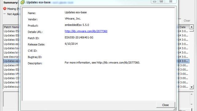 Check VUM for this esx-base update