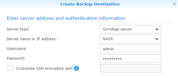 Network Backup Destination Details