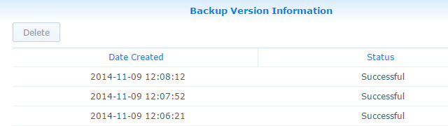 List of Backups
