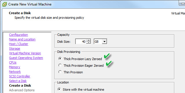 Thick provisioning options with VAAI NAS