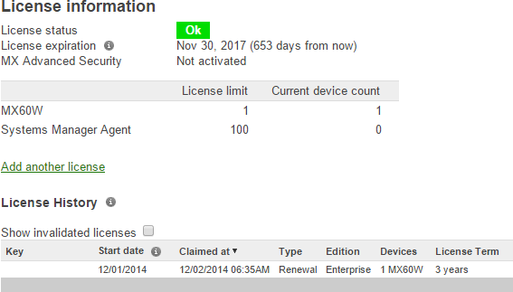 Meraki licensing is really simple to view and update