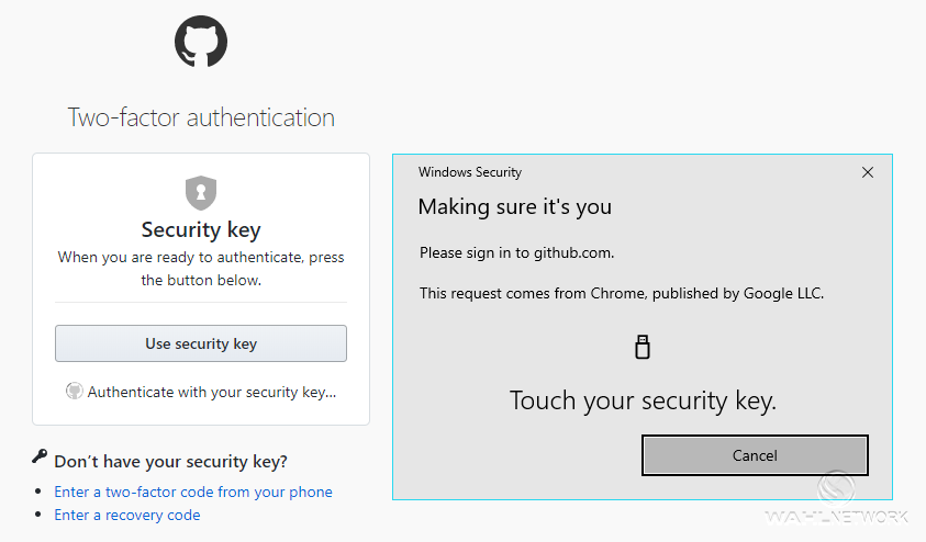 security key auth into GitHub