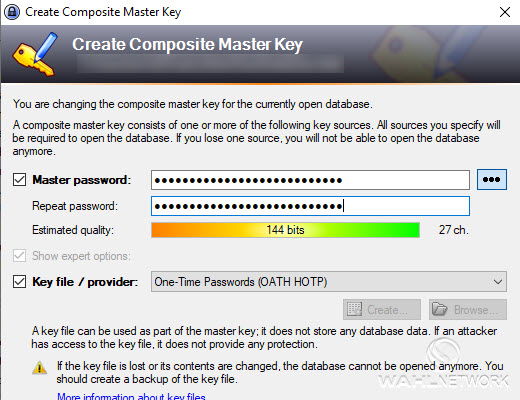 Modifying an existing KeePass database to add an OATH HOTP provider.