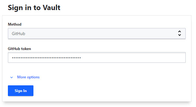 Signing into Vault using a GitHub token.